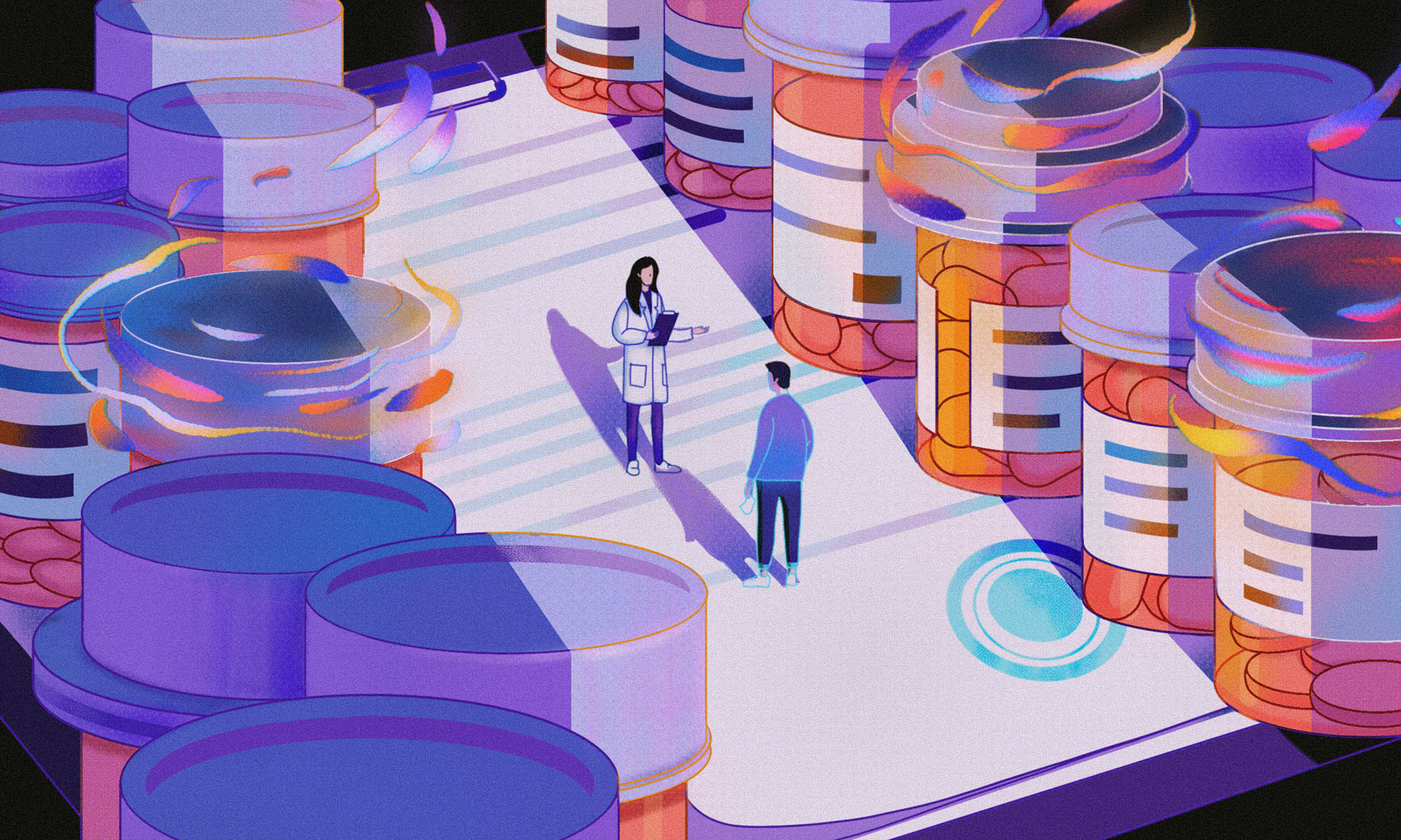 Pharmacist chats with patient among giant pill bottles