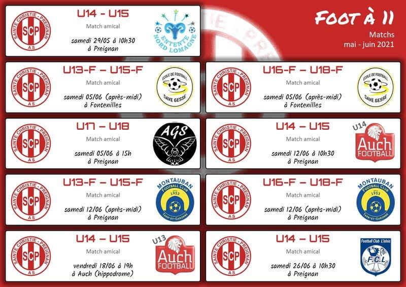 Planning matchs mai-juin - Foot 11
