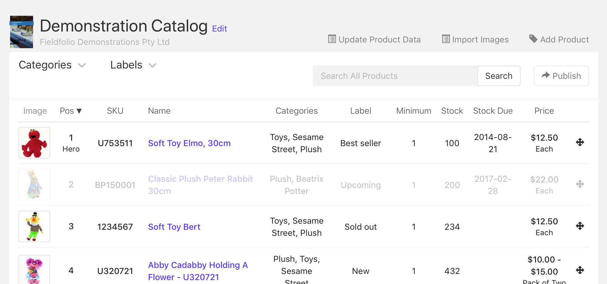 Hidden products are dimmed in your catalog product list