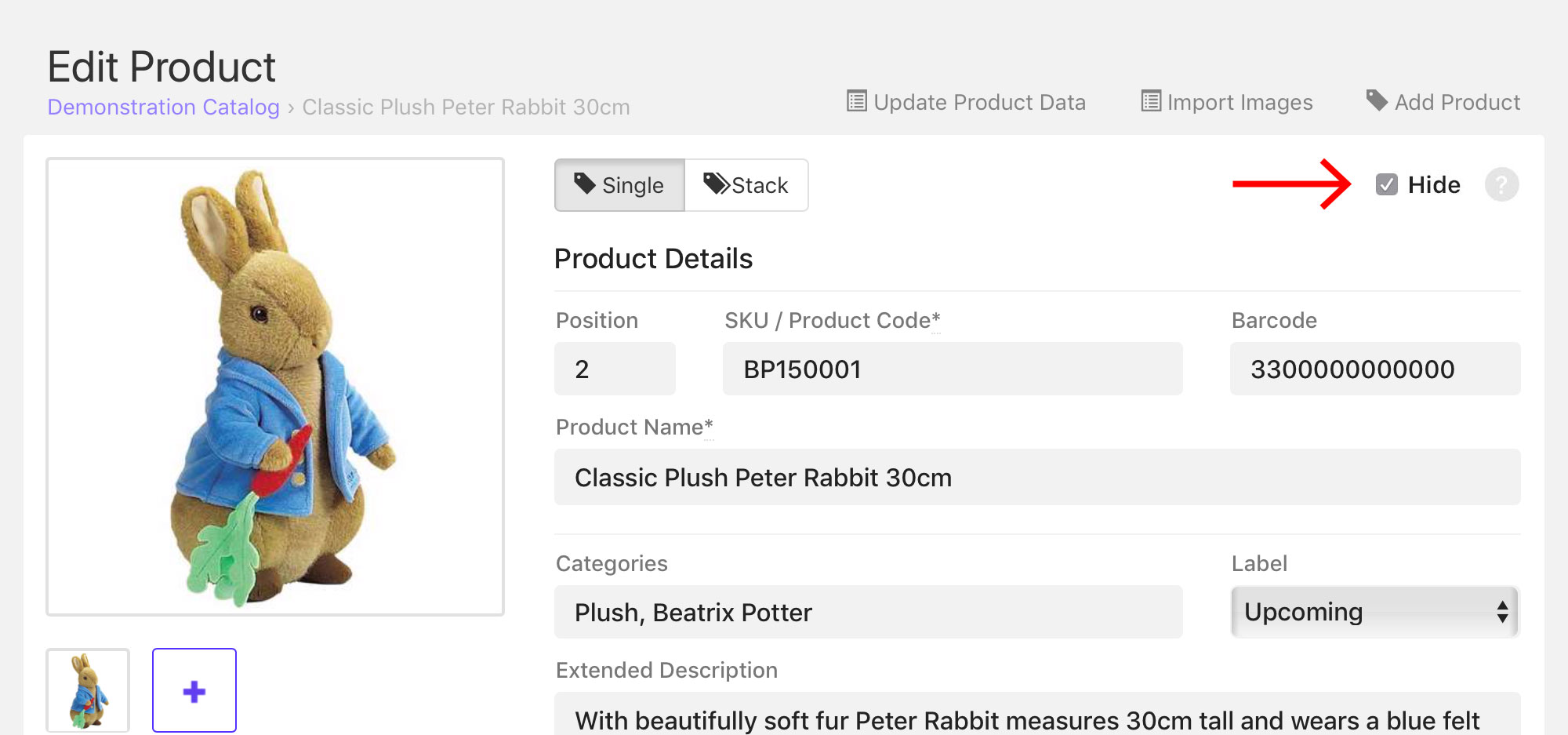 Hide checkbox on the Edit Product page