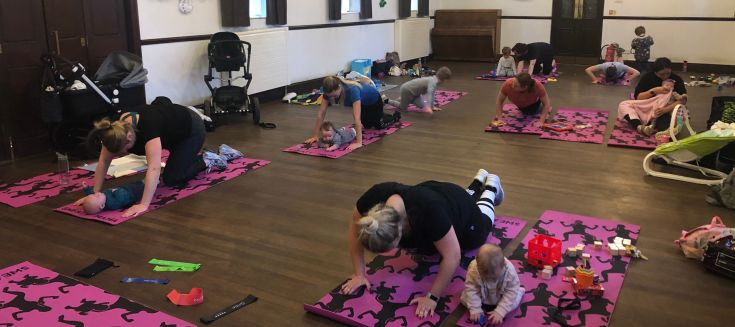 Mums working out with babies