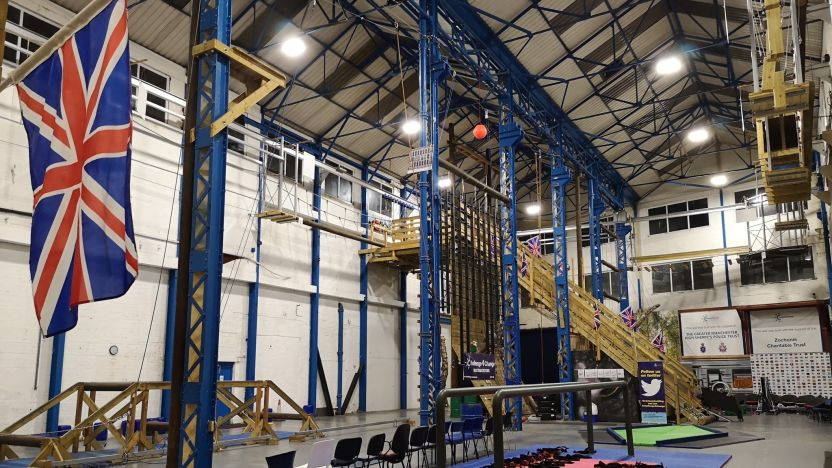 The Challenge4Change Arena which has climbing frames and obstacles.