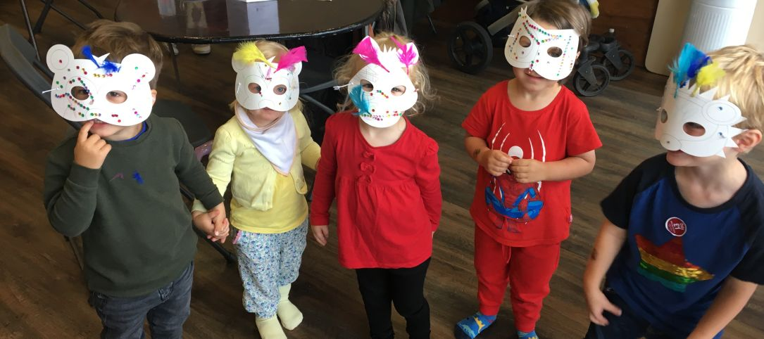 Children with masks on.