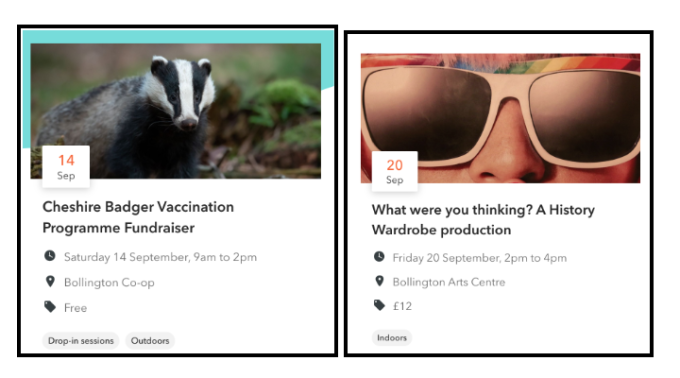 Two event listing images - badger vaccination fundraiser event and What were you thinking? production