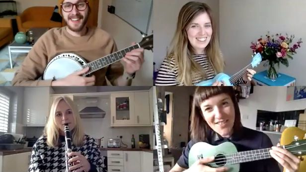 Collage photograph of people playing music together over a Zoom call.