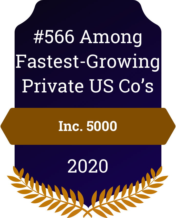 Inc 5000 #566 Among Fastest Growing Private US Companies