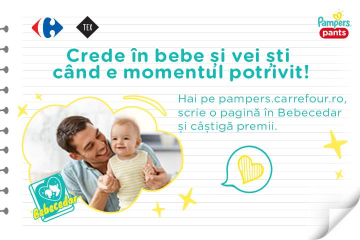 Scrie o pagină în Bebecedar și câștigă premii cu Pampers și Carrefour