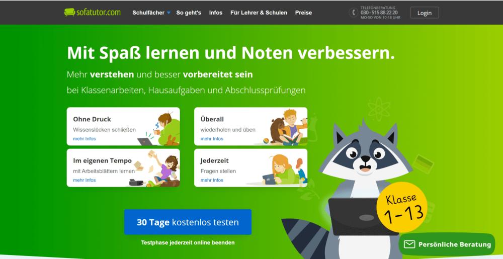 Webseite von Sofatutor