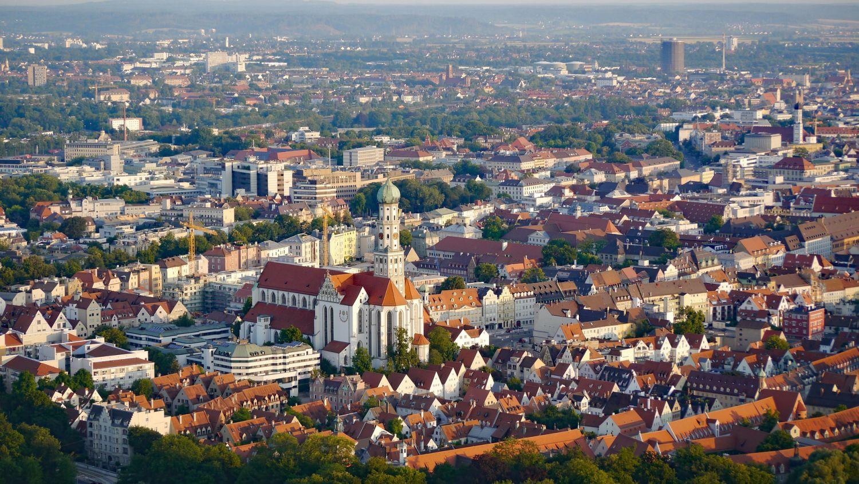 Ansicht auf die Stadt Augsburg von oben