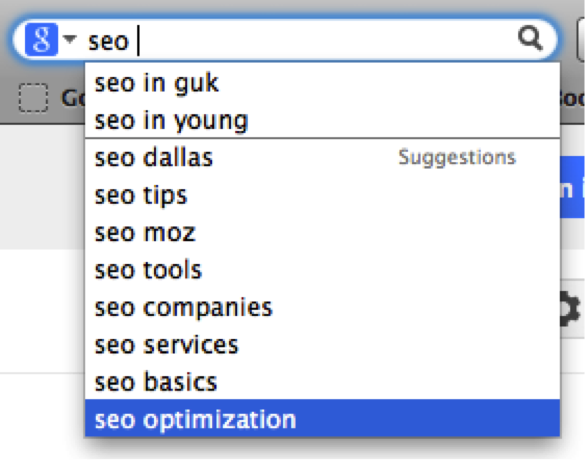 Example of a google auto complete to help with SEO