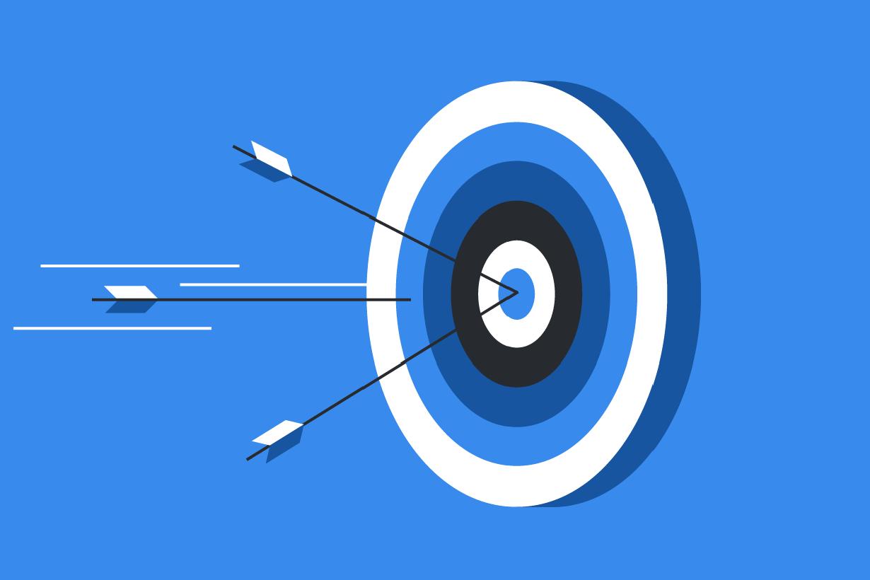 Illustrated arrows hitting bullseye