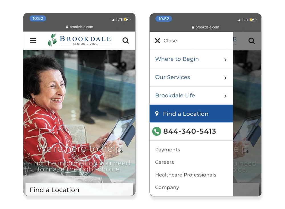 Brookdale's mobile website