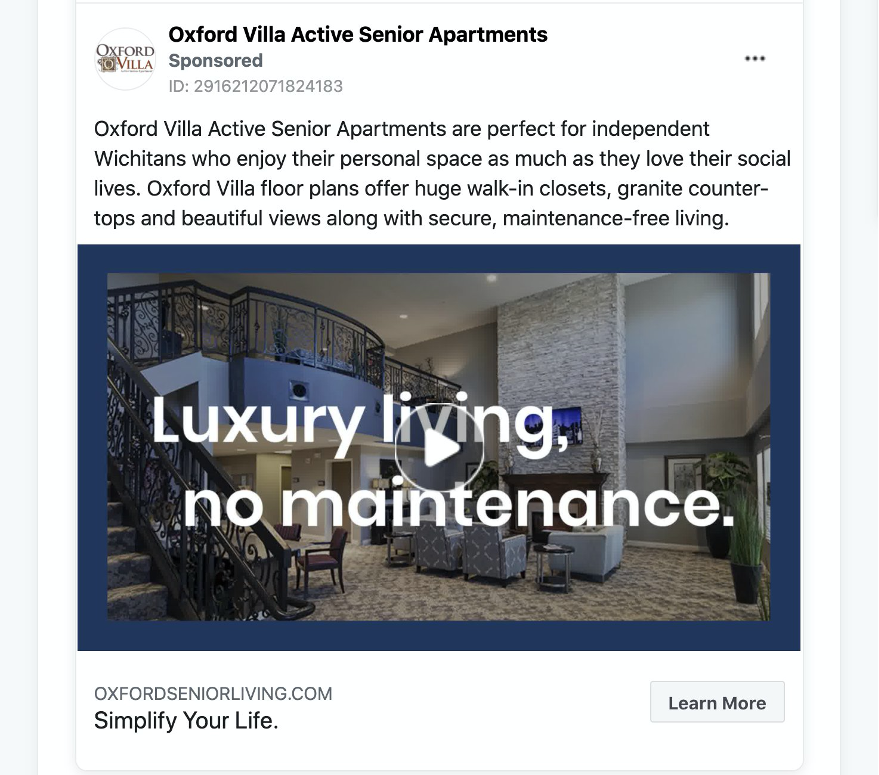 Oxford Villa Active Senior Apartments Facebook Ads