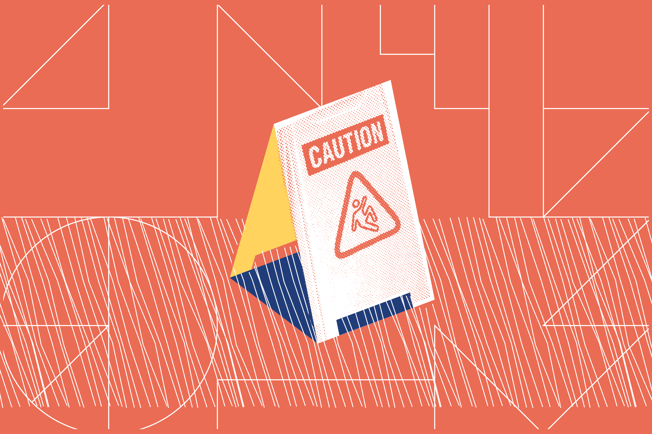 """Illustrated wet floor sign stating """"Caution"""""""