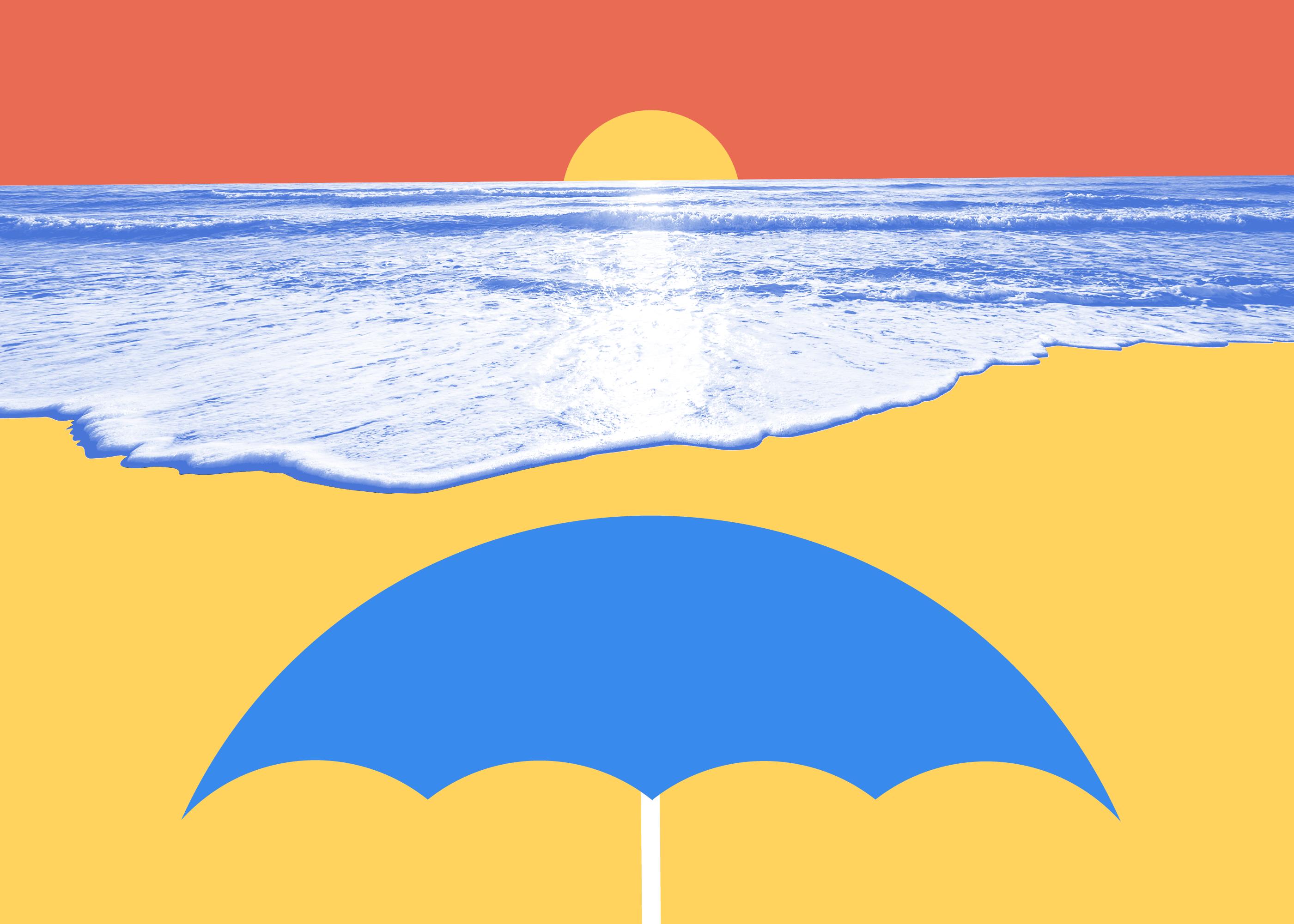 Illustrated beach