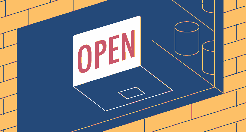 Illustrated business window with open sign