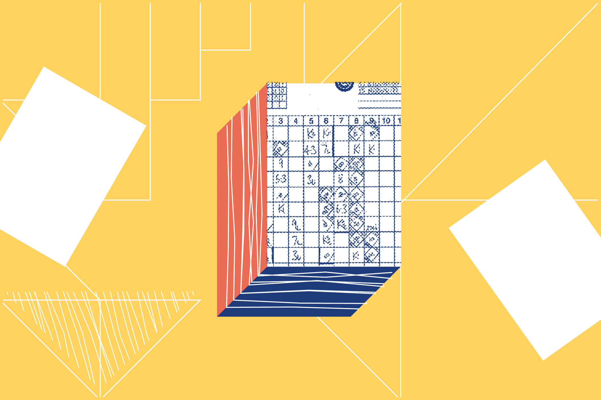 Illustrated notepad with checks and scores marked on it.