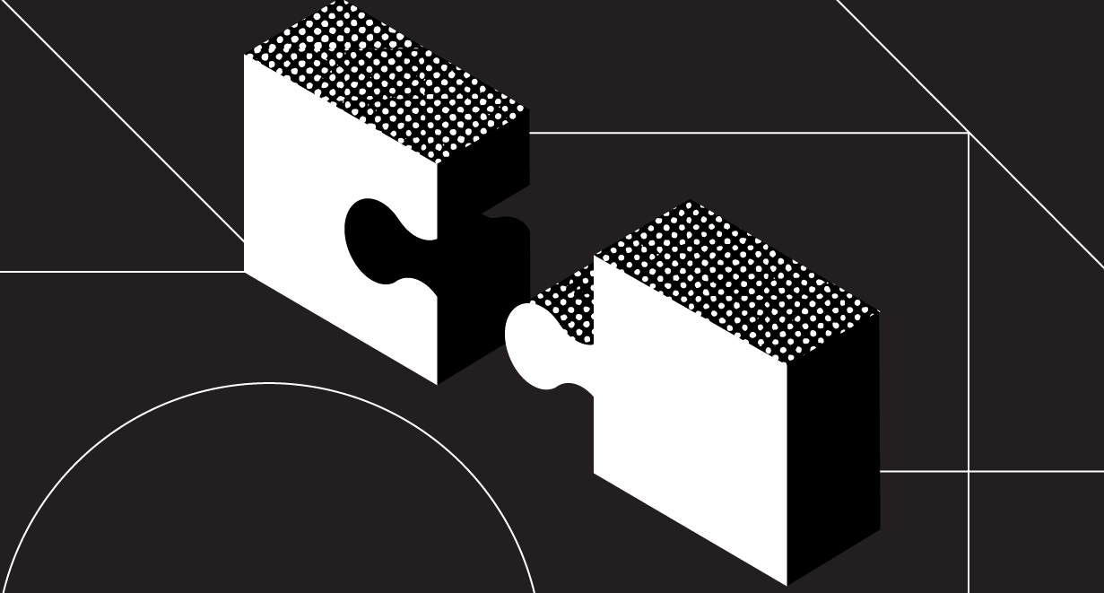 Illustrated puzzle pieces connecting