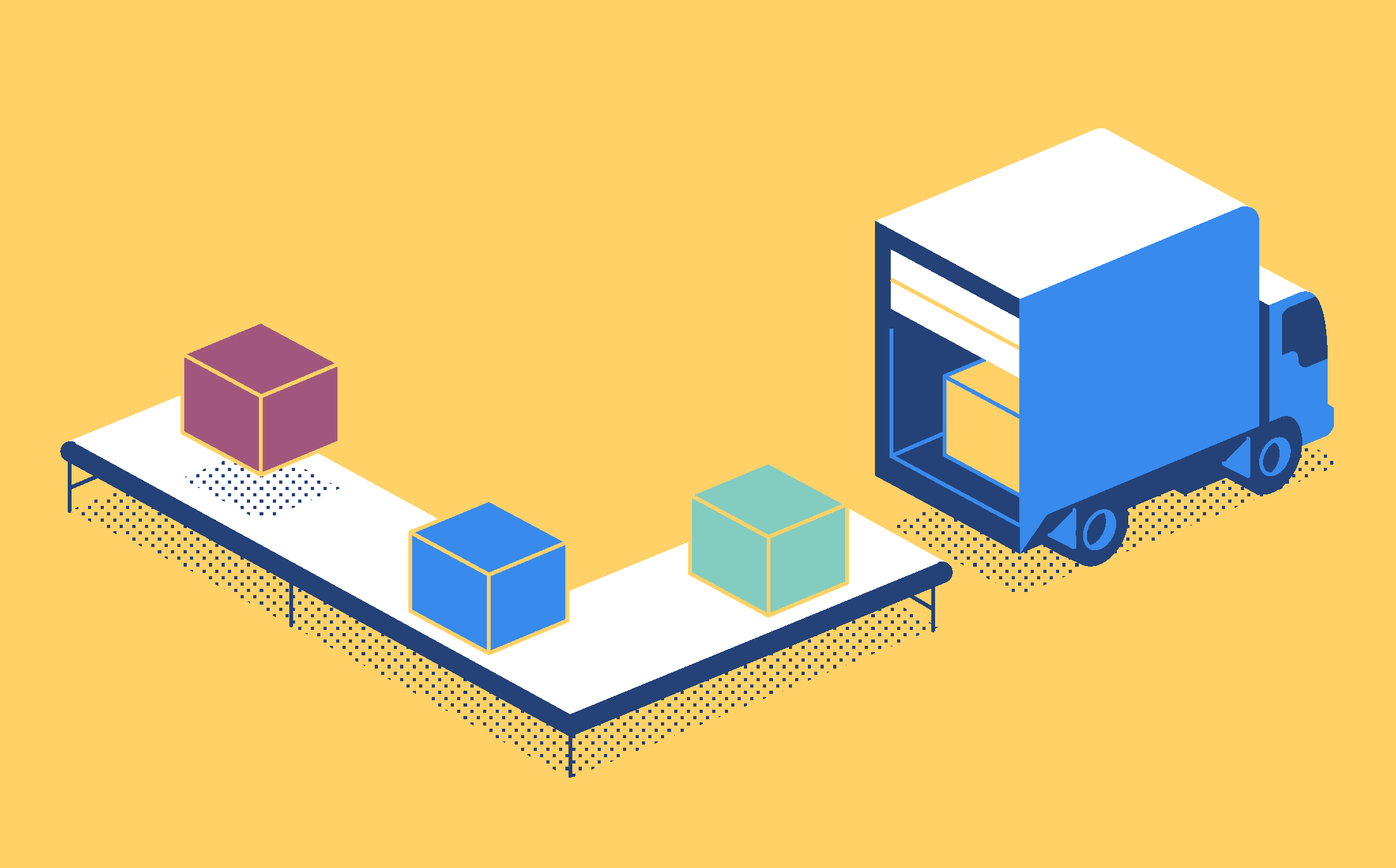 truck unloading boxes