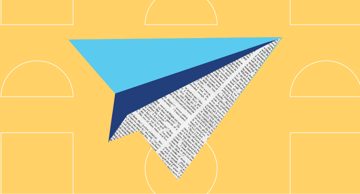 graphic design of paper airplane made from newspaper