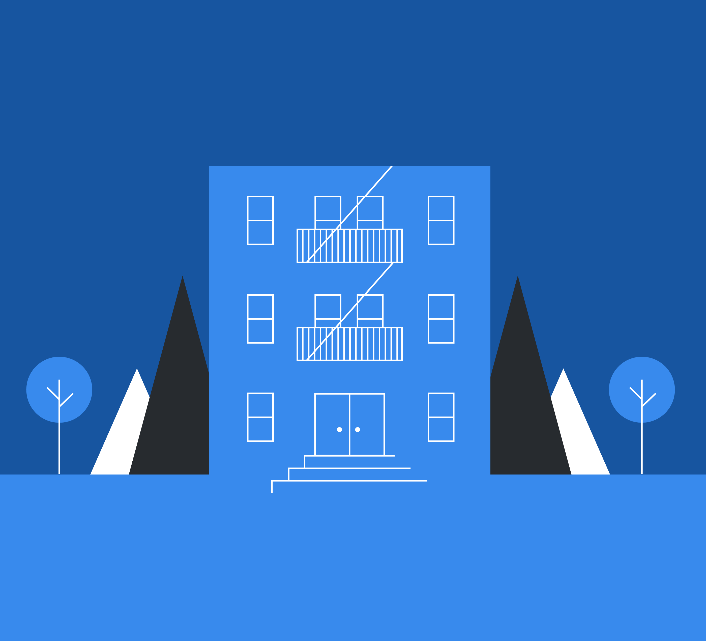 Illustrated apartment building