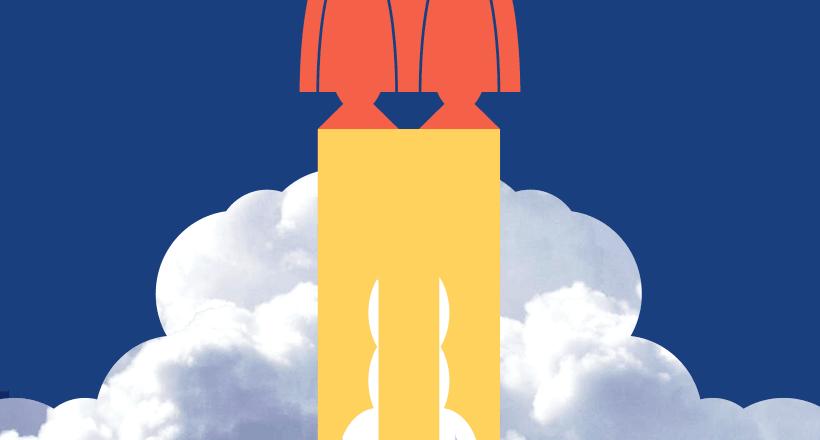 Illustrated rocket launching