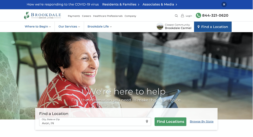 Brookdale Senior Living homepage on desktop