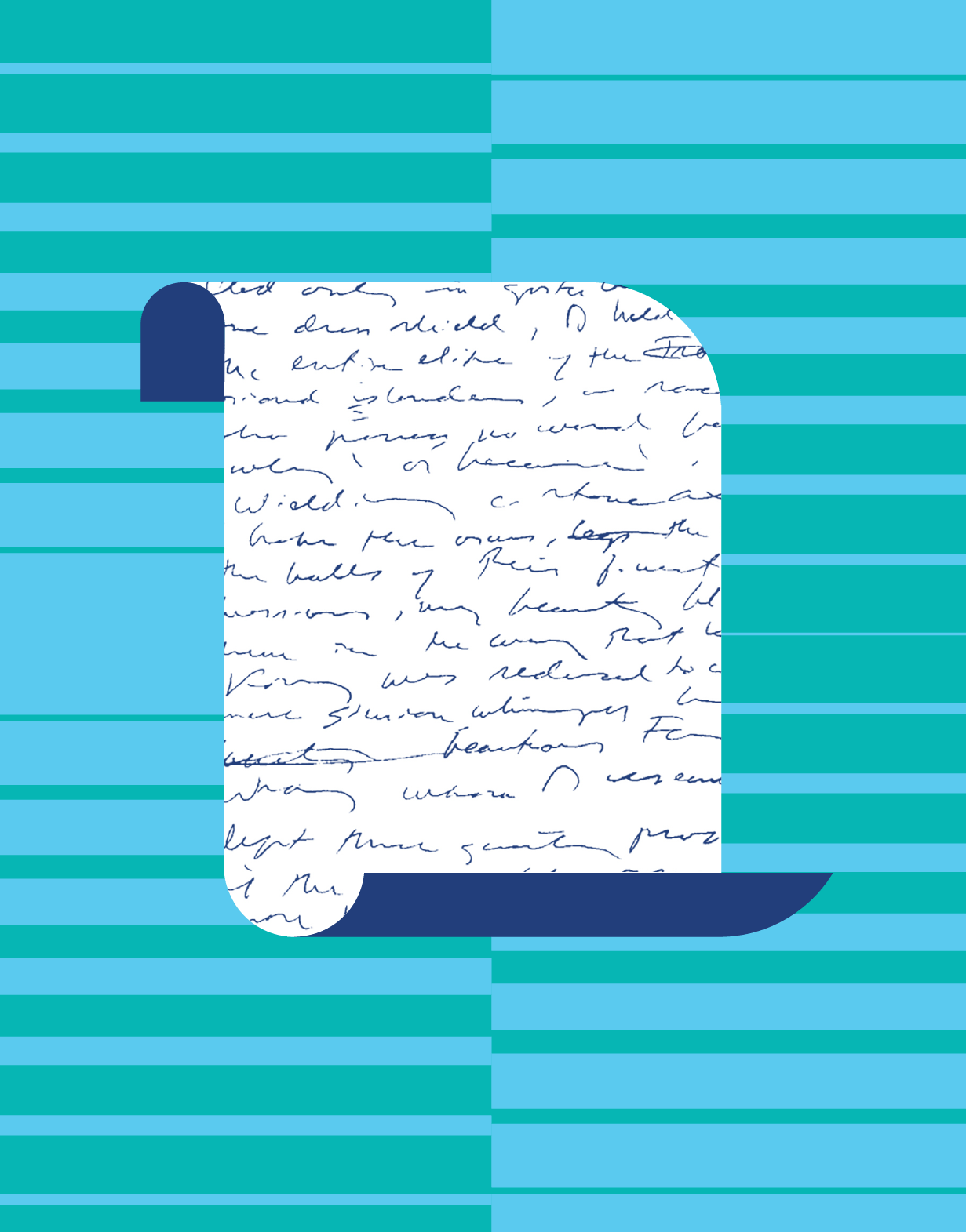 Illustrated paper with cursive writing