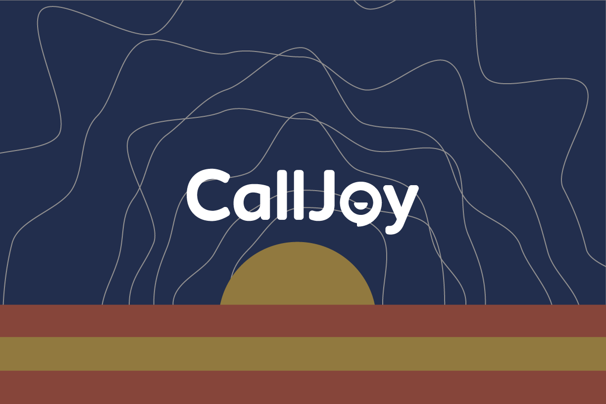 CallJoy logo with a sunset in the background