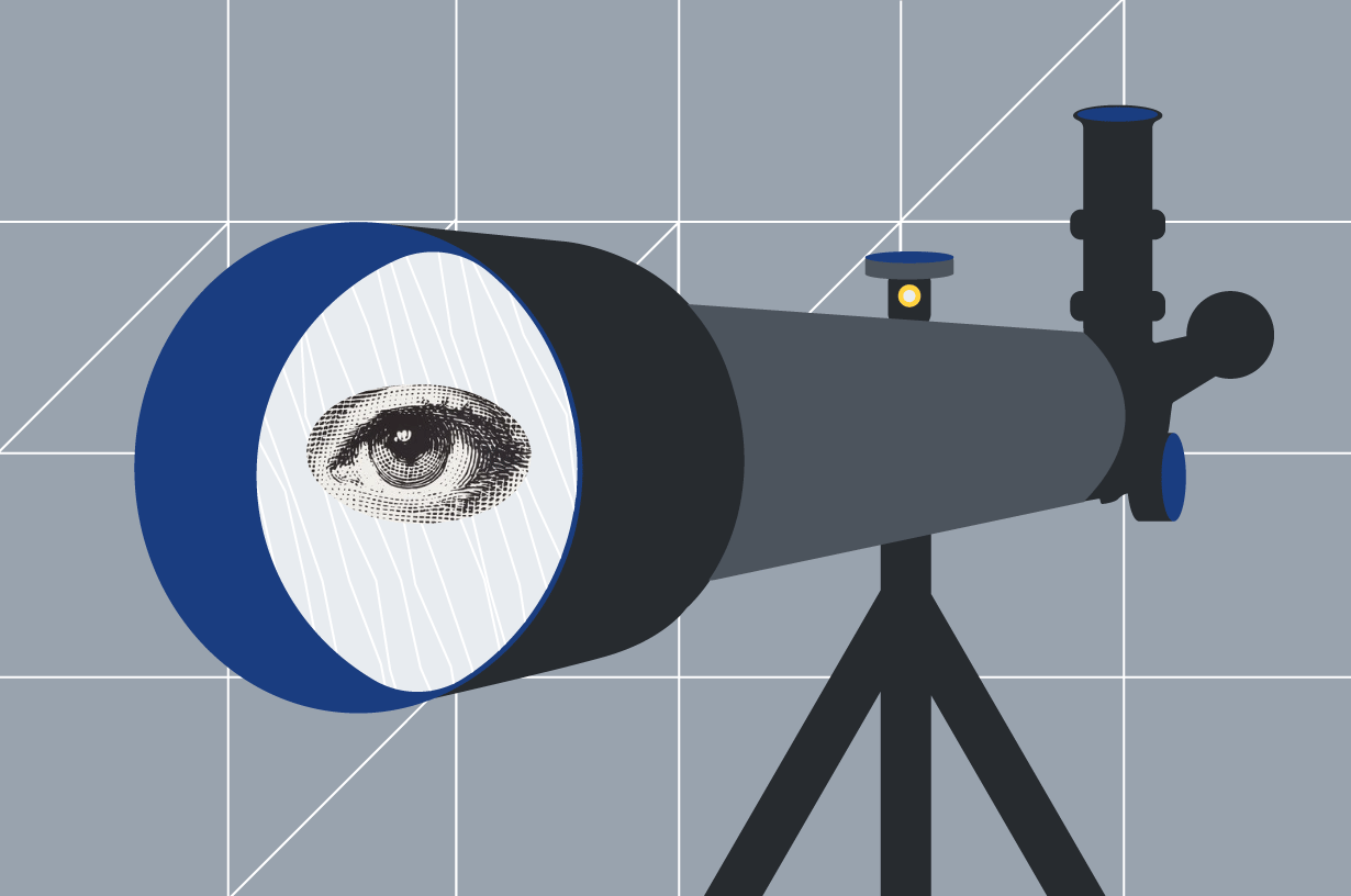 illustrated telescope with an eye peering through the lens