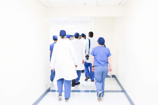 Doctor's walking down the hall