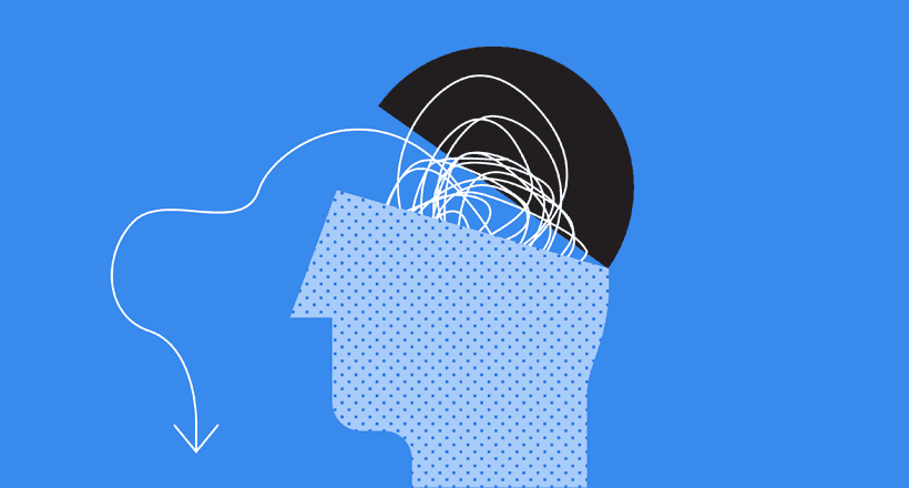 illustrated person talking out their thoughts and feelings as their thoughts are shown as tangled yarn