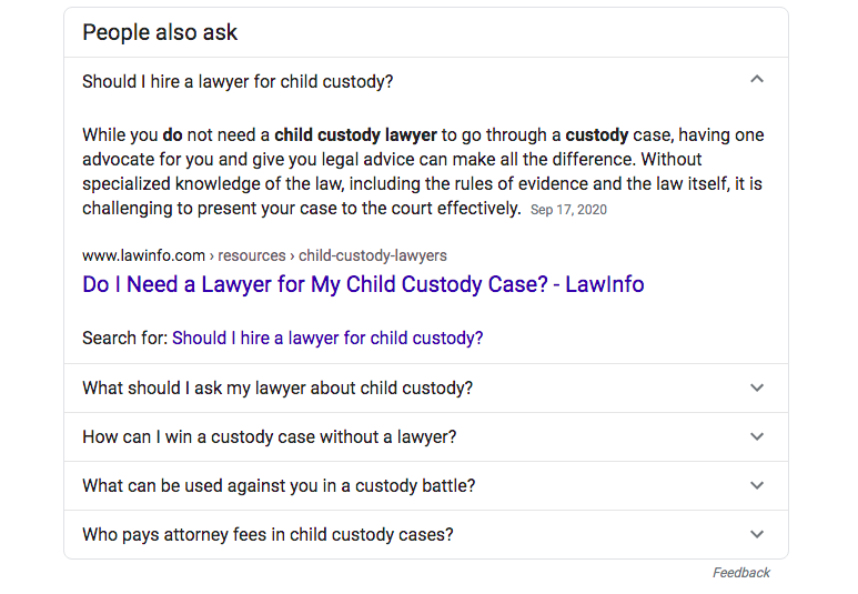 Google people also ask law firm example