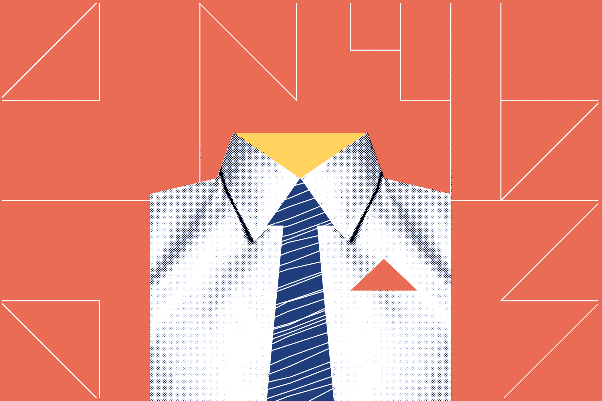 Illustrated white collared shirt with blue tie and red pocket square.