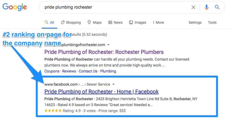 Pride Plumbing Facebook page search position