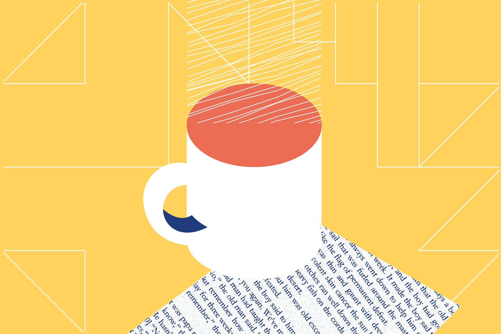 Illustrated cup of coffee holding newspaper underneath in place.