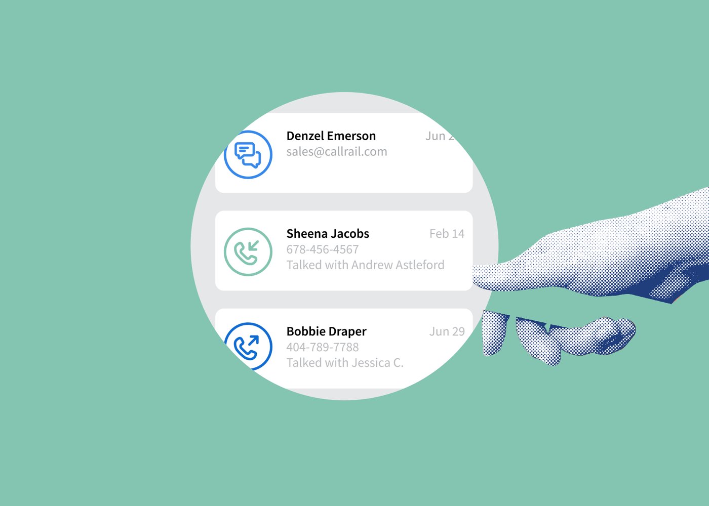 illustrated Lead Center inbox showing calls and form interactions in one place