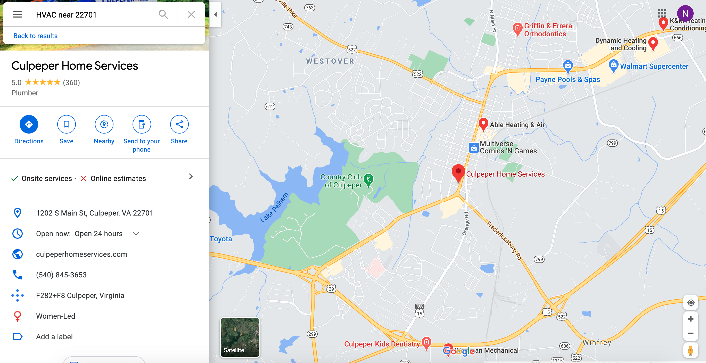 Local google map search results for home services