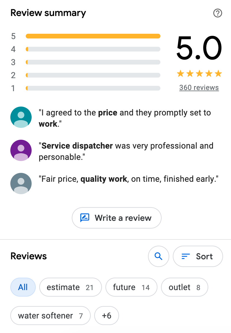 Example review summary for GMB home services listing