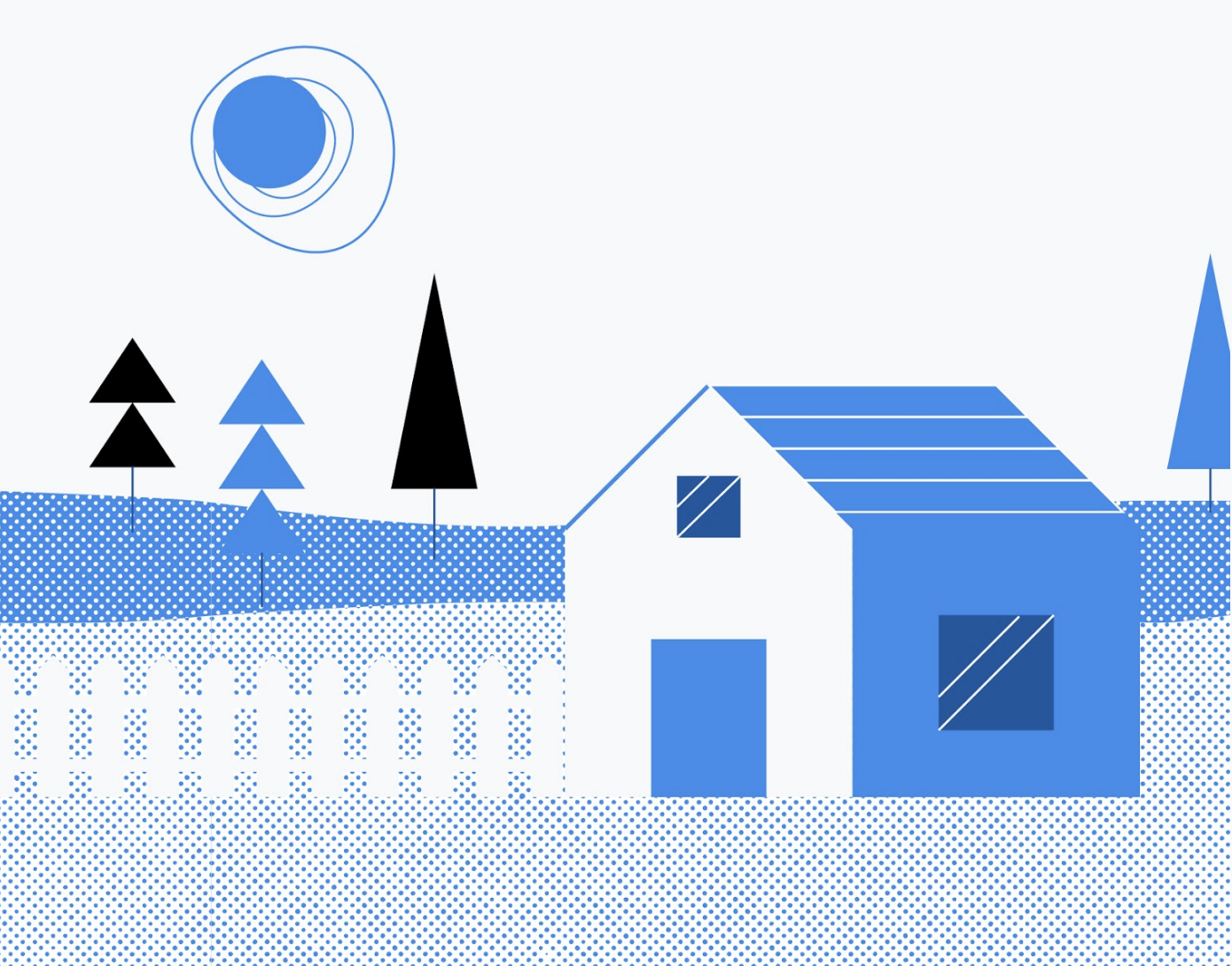 illustrated house with newly built fence