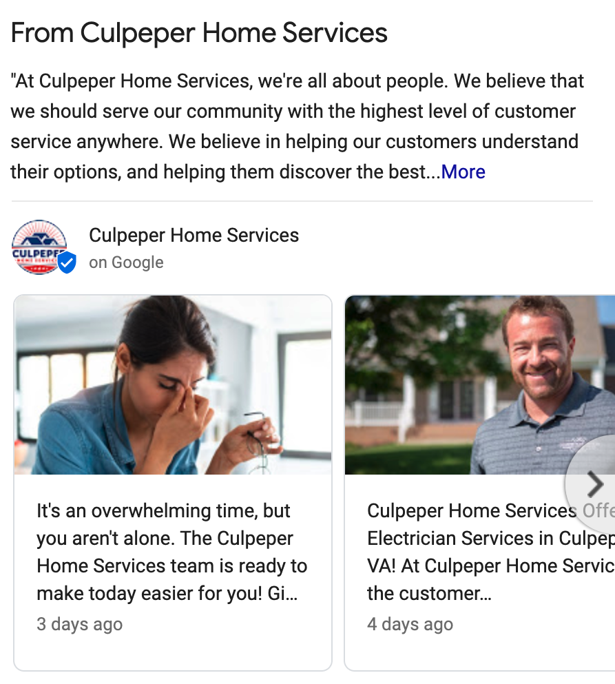 Example of google posts via GMB home services listing