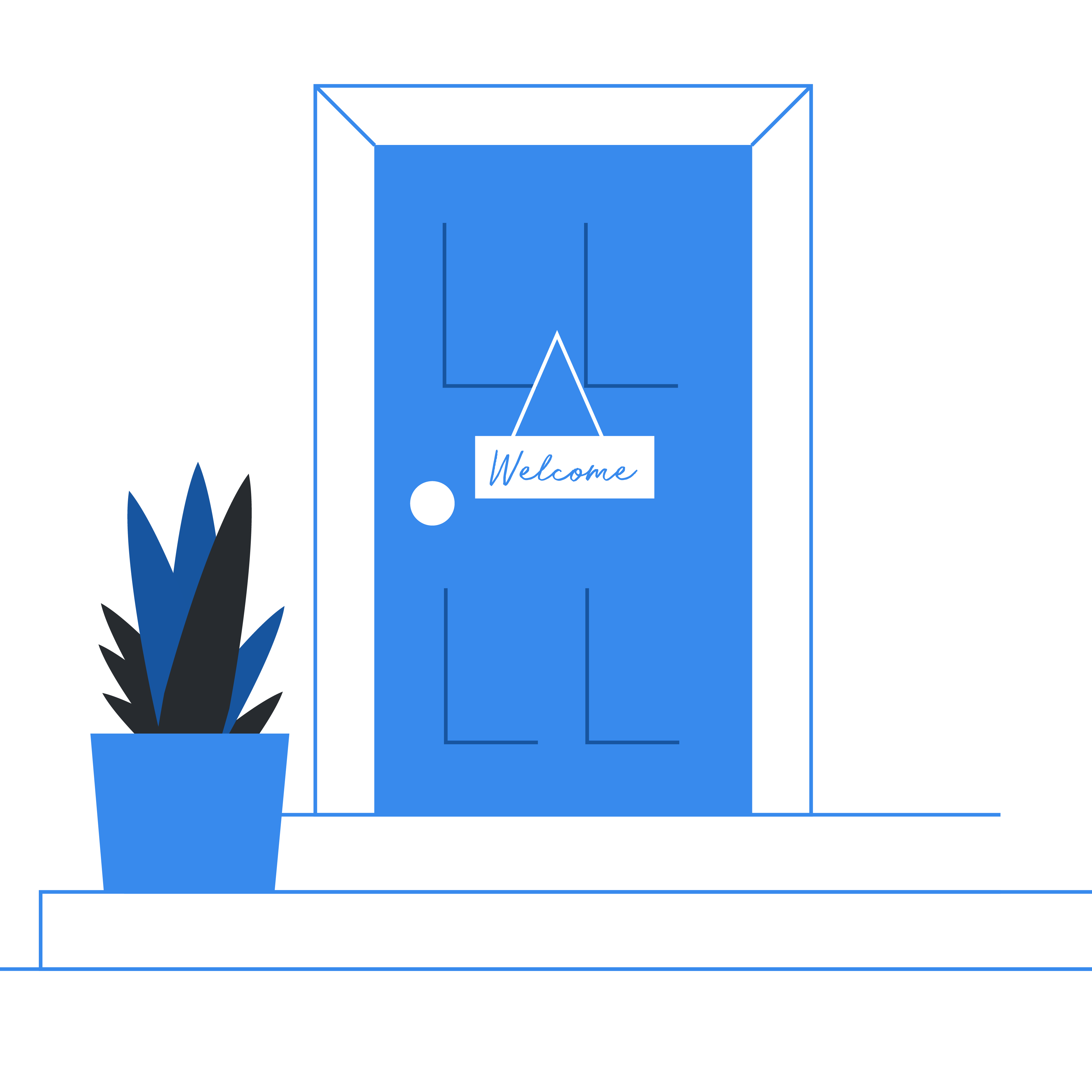 illustrated doorstep with welcome sign