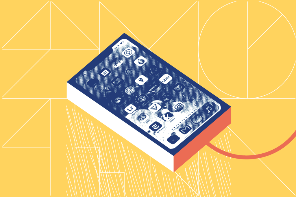 Illustrated smartphone on the charger