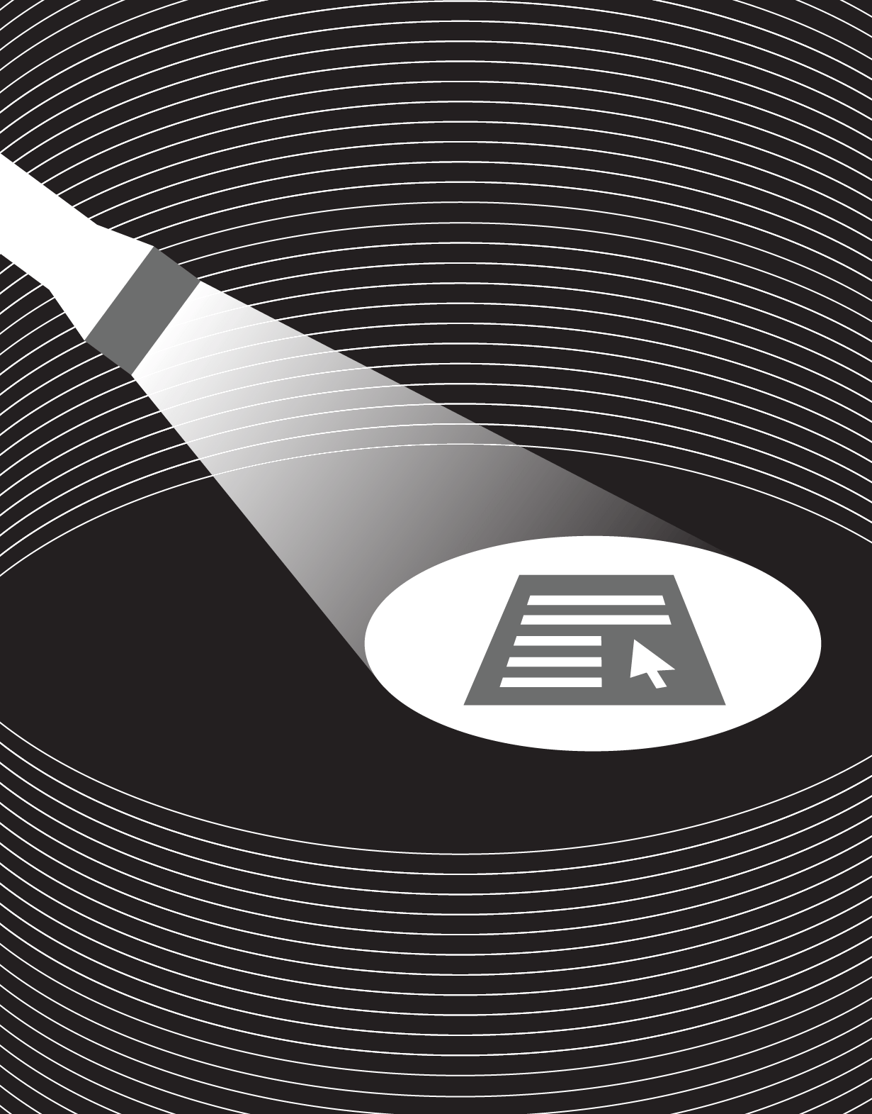 Illustrated flashlight shining on a form