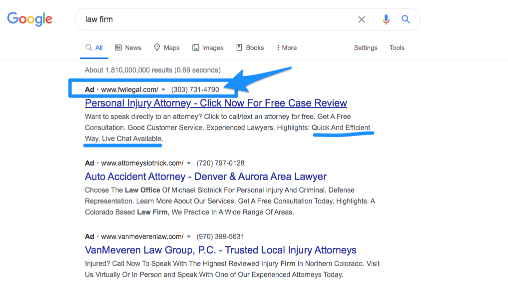 Google ad extension examples