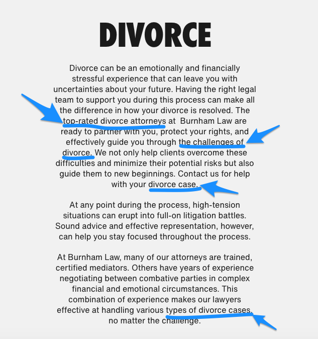Example of keyword rich copy for divorce law firm