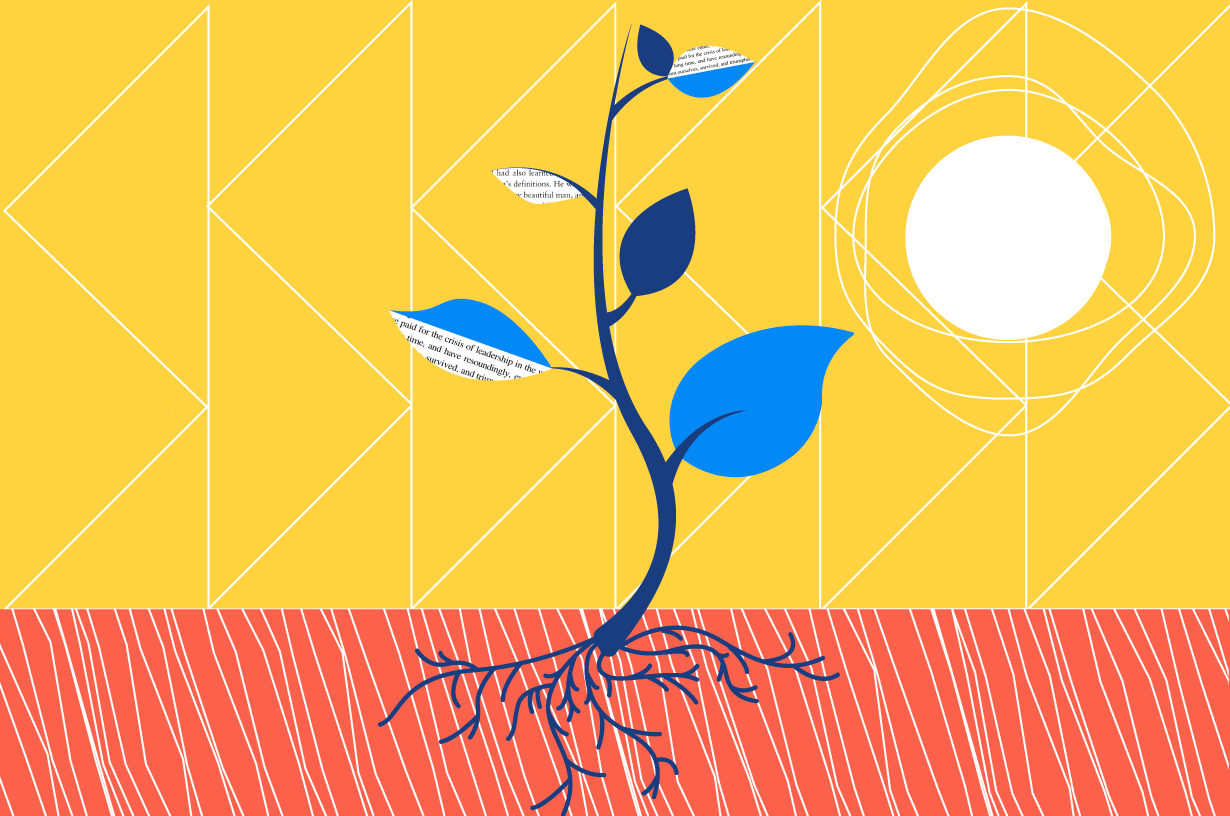 illustrated plant growing up towards the sun with strong roots below