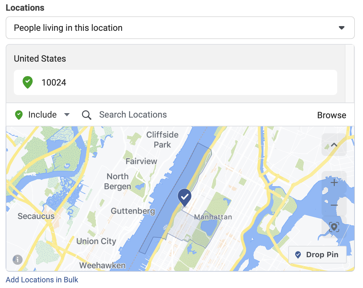 Facebook's location-based targetting