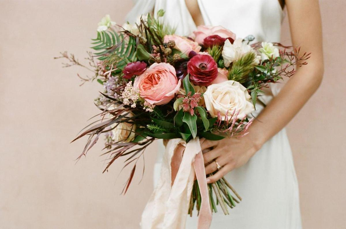 Bride holding a beautiful bouquet