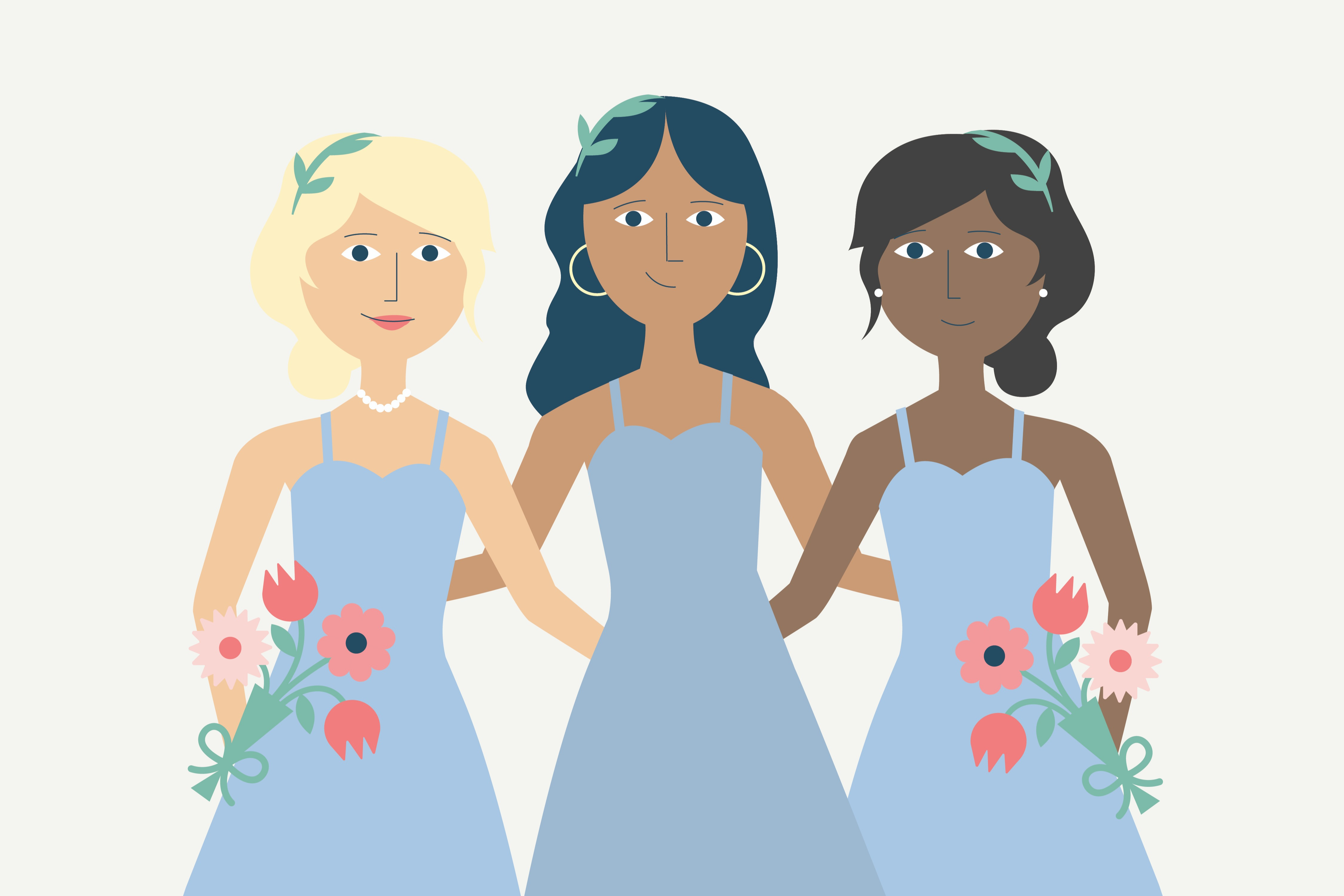 groom with bridesmaids in different dresses